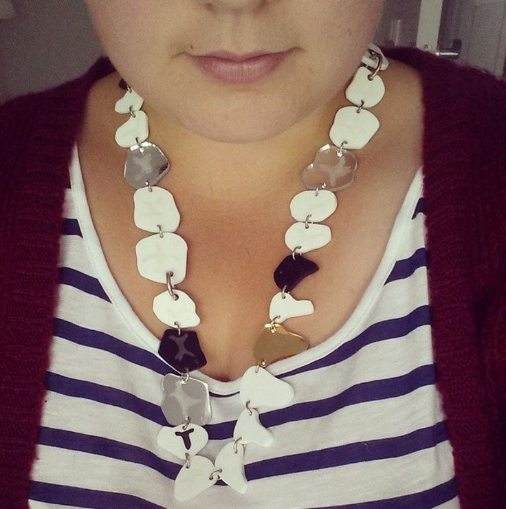 Tatty Devine White black and gold teeth necklace