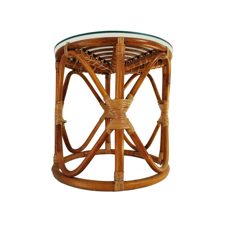 Bamboo Table With Design: Vintage Rattan Table / Bohemian Wicker Glass Top Table