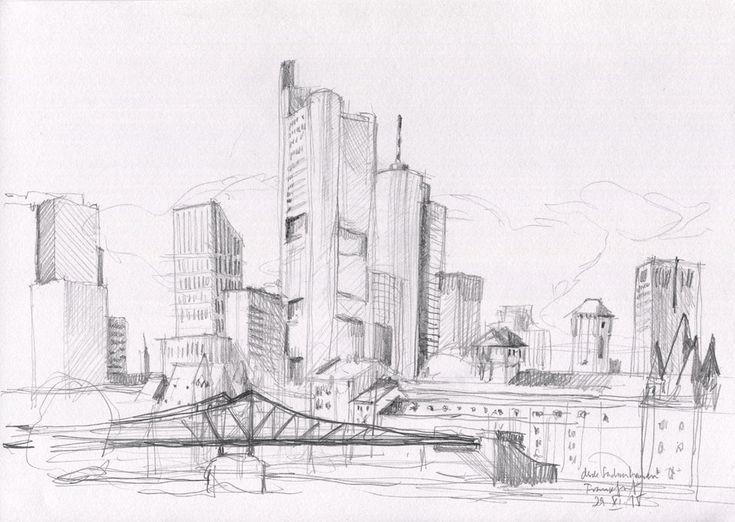 D Printing Exhibition Frankfurt : Mainhattan frankfurt city skyline urban sketch pencil drawing print of plein air