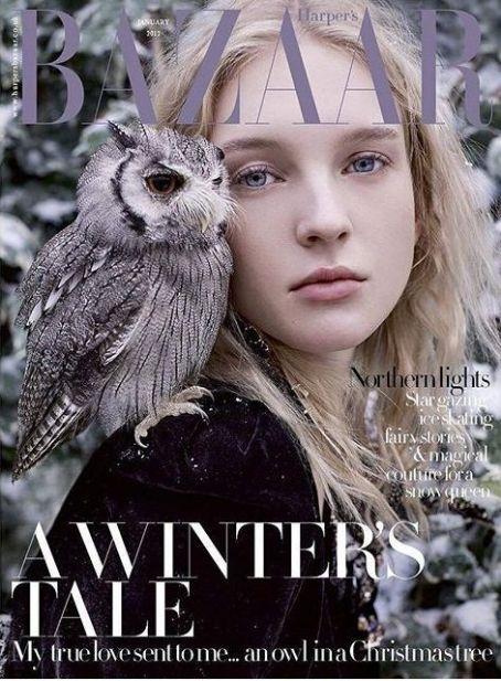 Nastya Sten for Harper's Bazaar UK January 2017 Cover - Elie Saab Fall 2016 Haute Couture