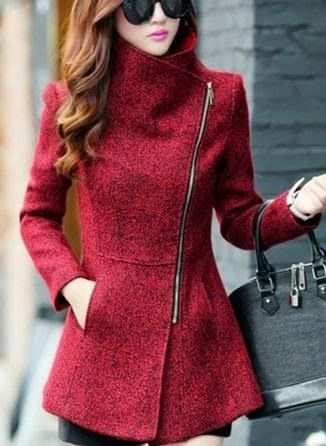 Red Plain Pockets Tweed Coat