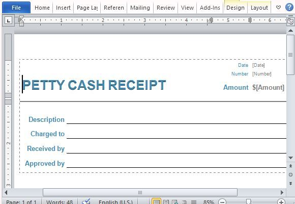 Image Result For Petty Cash Receiving Signature Form Free Free Receipt Template Receipt Template Business Template