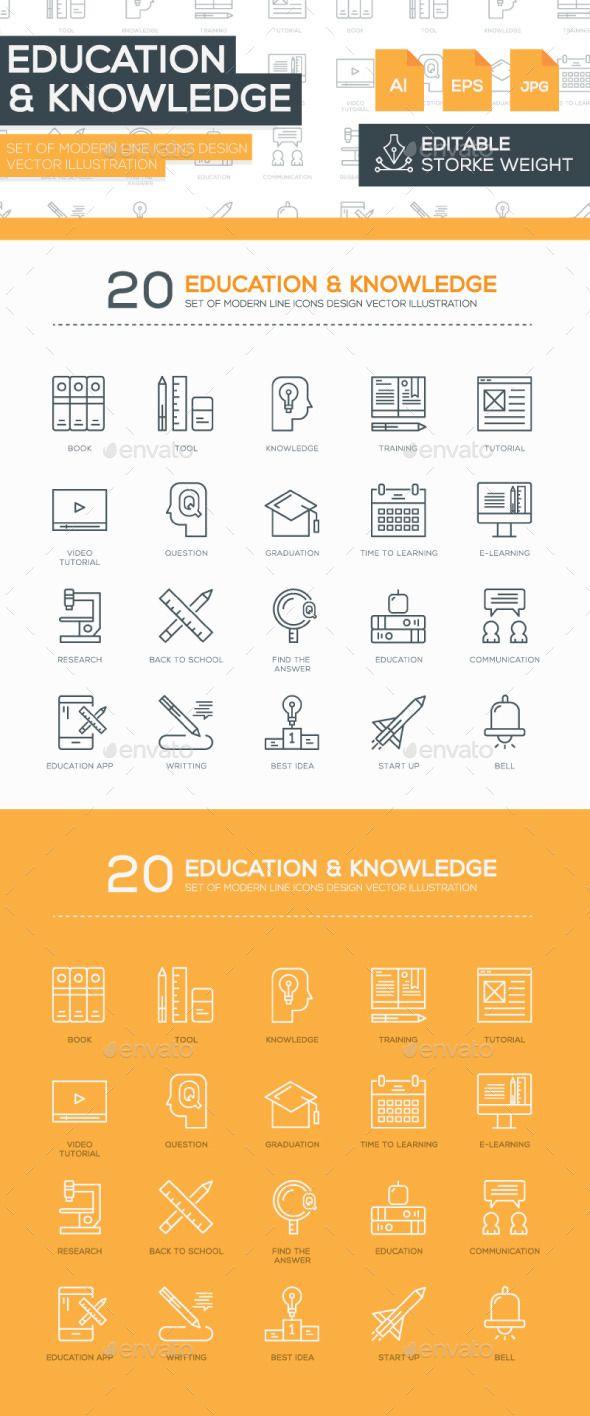 Set of Modern Line  Education Icons Design #design Buy Now: http://graphicriver.net/item/set-of-modern-line-education-icons-design-/12844347?ref=ksioks