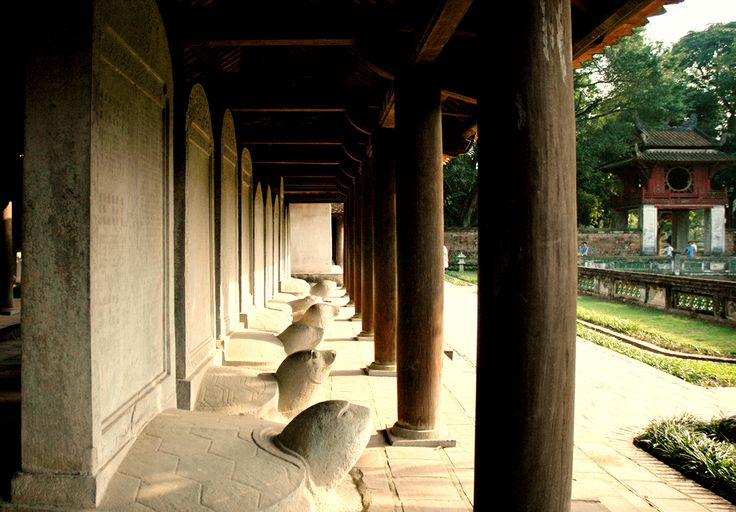 The steles stand on the back of the  rock turtle inside the temple of literature in Hanoi #Hanoi #temple #travel