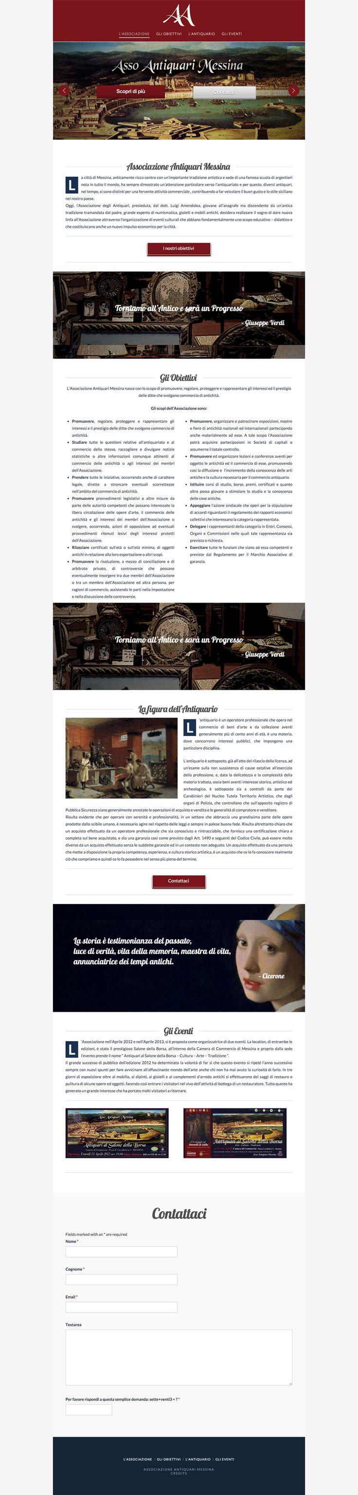 Sito web di presentazione per AssoAntiquari Messina - Messina - HomePage - Realizzato con Wordpress- Anno 2015