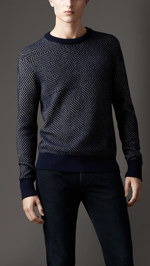 Burberry London Chevron Cashmere Cotton Sweater