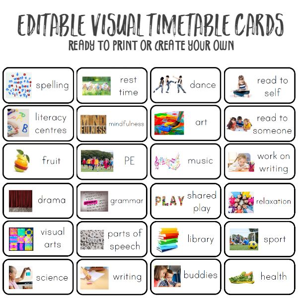 8 best visual timetables images on Pinterest Autism, Classroom - class timetable template
