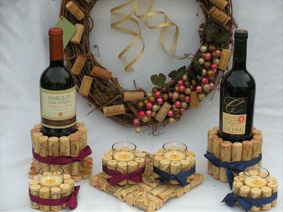 cork bottle holders, cork candles & trivets