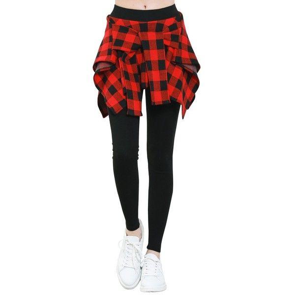 ililily Women Buffalo Checkered Casual Shirt Around Waist Skirt... ❤ liked on Polyvore featuring pants, leggings, checkered leggings, wide-leg pants, red checkered leggings, red checkered pants and wide-waistband leggings