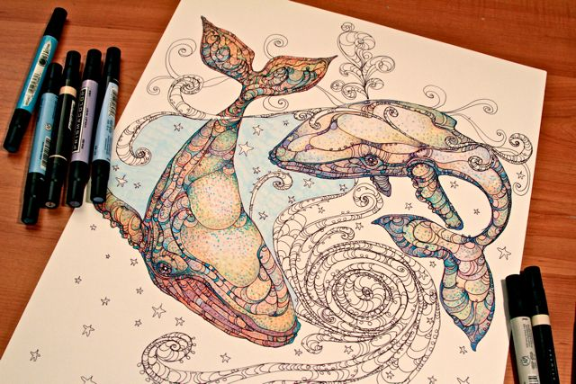 whale drawing. holy crap this is gorgeous.