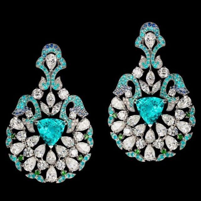 "Orlov Jewelry a pair of ""piscine blue"" Paraiba and diamond earrings - their…"