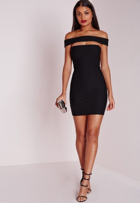 Cut Out Panel Bardot Bodycon Dress Black - Dresses - Little Black Dresses - Missguided