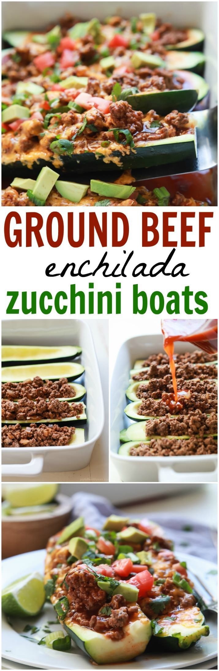 Ground Beef Enchilada Zucchini Boats - a healthy gluten free version of classic Beef Enchiladas. A little over 30 minutes to make but well worth it for the bold flavors and a calorie count of 222!   joyfulhealthyeats.com