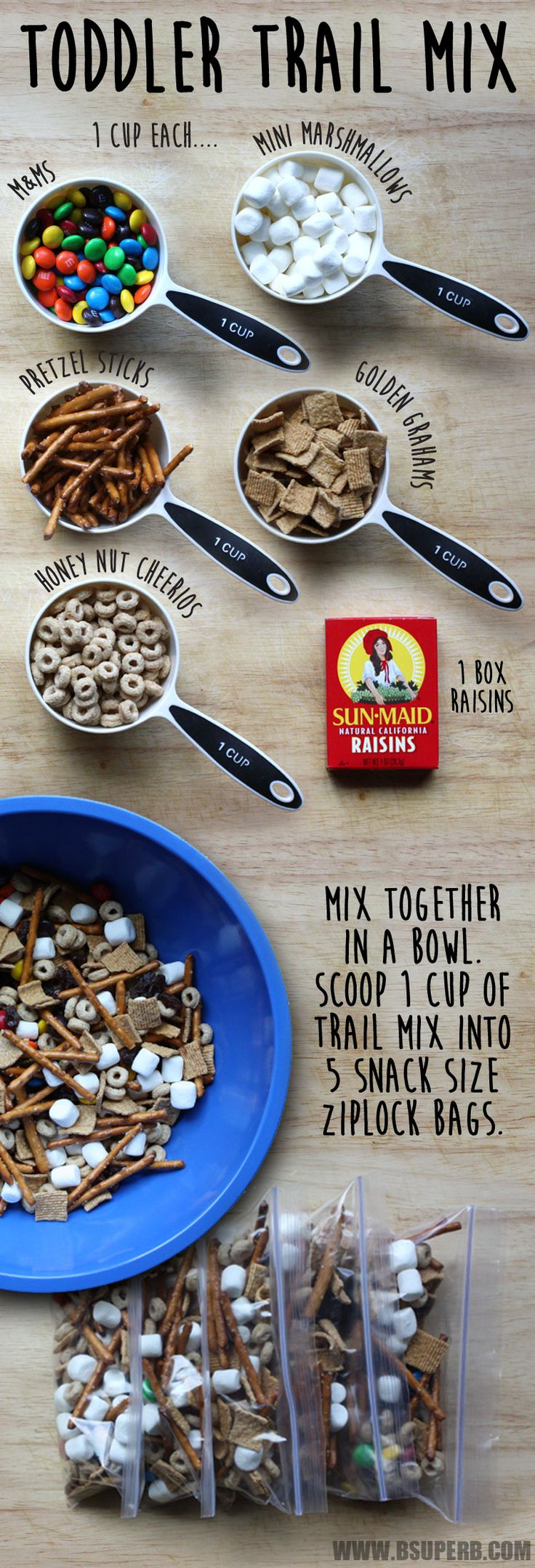 Toddler Trail Mix - marshmallows, pretzels, golden grahms, cherrios, raisins - NO m&ms