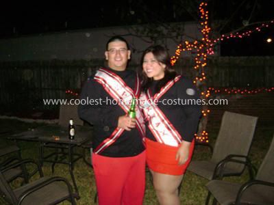 Homemade Spartan Cheerleaders Couple Costume: I created the Homemade Spartan Cheerleaders Couple Costume after going to the costume store, and finding the costumes there were cheaply made, and over