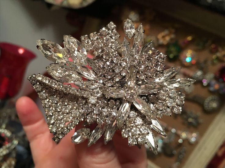 Large and sparkly brooch.  Value Village .