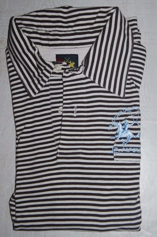 LA MARTINA POLO SHIRT ARGENTINA LONG SLEEVE STRIPED WHITE BROWN STRETCH L LARGE