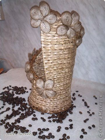 Поделка изделие Моделирование конструирование Плетение Для себя для дома Трубочки бумажные Шпагат фото 2