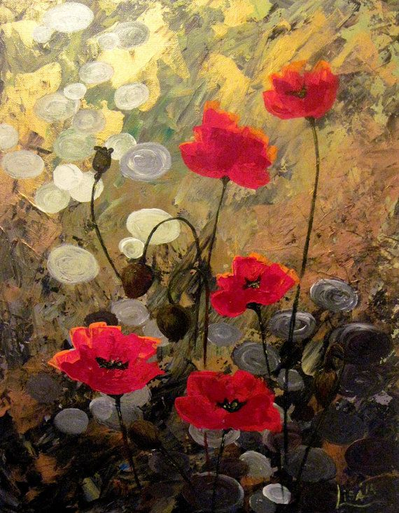 Original Acrilic Painting  Poppies on a gold by ArtonlineGallery, $170.00