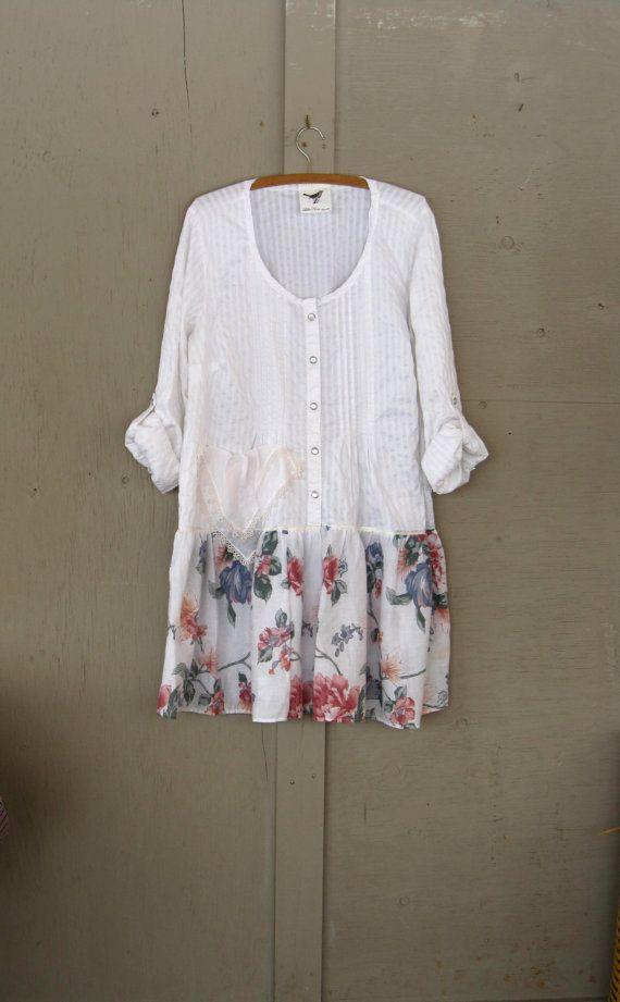Robe romantique Bohème upcycled vêtements robe de paysanne cowgirl recyclés Tunique robe Hippie haut de Artsy lambeaux Eco plus la taille X Large-1 X-2 X