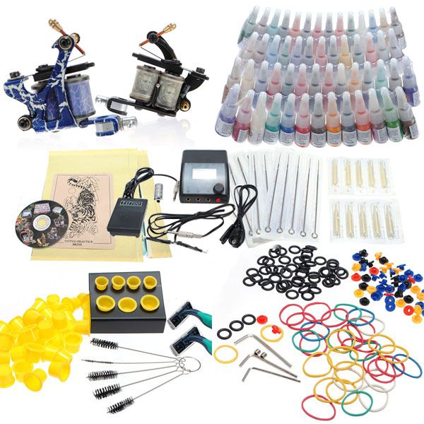 Professional Tattoo Kit 2 Machine Guns 54 Color Inks 20 Needles