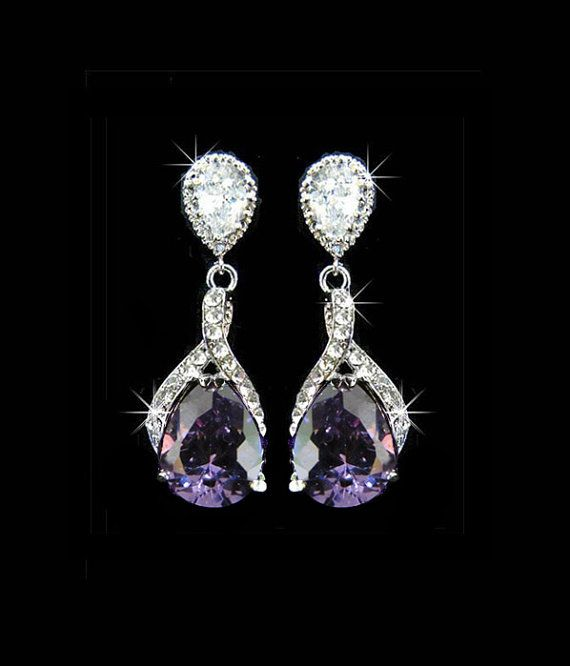 bridal earrings with purple in them (my wedding color)