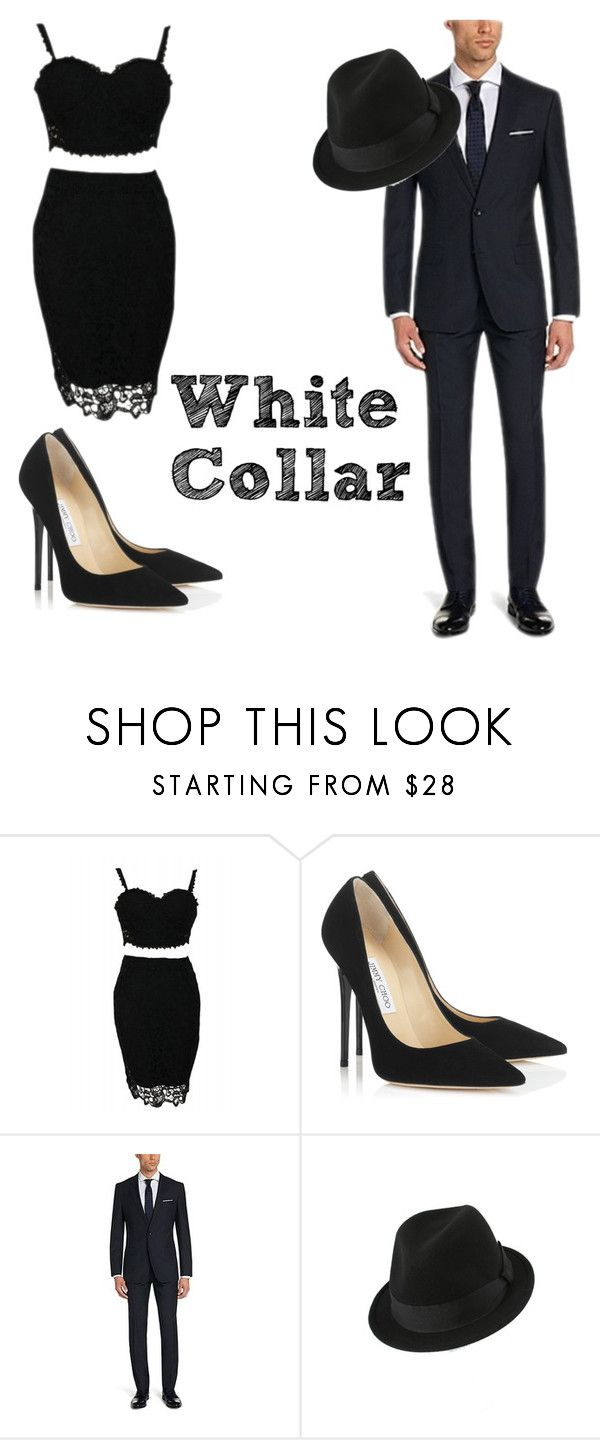 """""""Sara Ellis and Neal Caffrey"""" by julia0707 ❤ liked on Polyvore featuring Jimmy Choo and Broner"""