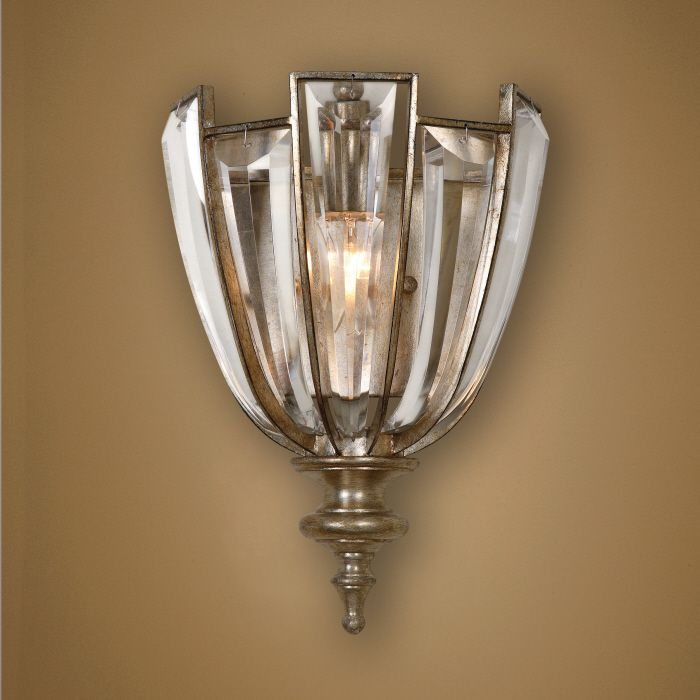 vicentina 1 light crystal wall sconce by uttermost product code burnished silver champagne leaf and beveled crystals pinmeshop - Uttermost Lighting