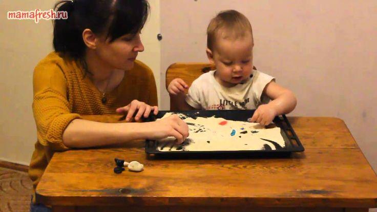 57 день. Игры с манкой.  Игры для малышей. Ребенку 1 год. Развивающие иг...