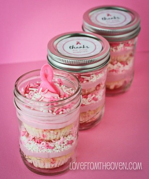 Pink Ribbon Funfetti Cupcake Jars.  The jars make the cupcakes portable.     use a white cake mix  and add sprinkles into the cake batter to make a pink ribbon funfetti type of cake.   There is no exact measurement, you can use whatever seems to work for you.   probably added about 1/2 a cup of sprinkles to my cake mix.