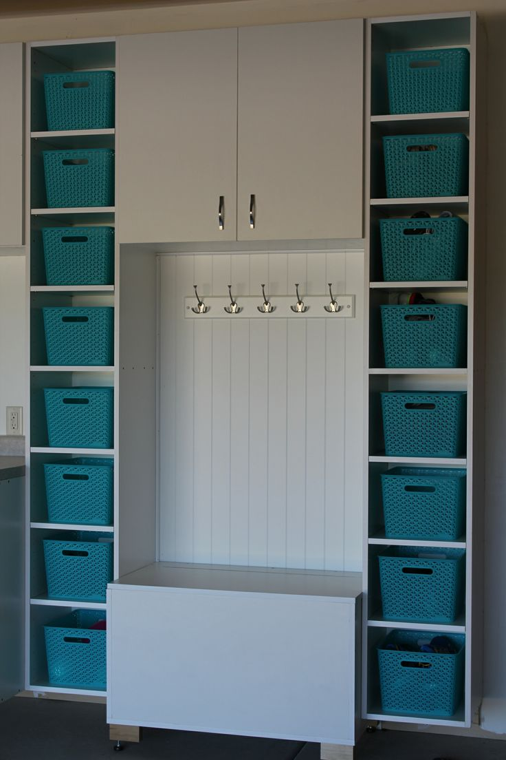 Garage garage organization via a bowl full of lemons the white bins - How To Organize The Garage See More A Bench To Be Able To Sit On To Put Shoes On And Tall Shelves And