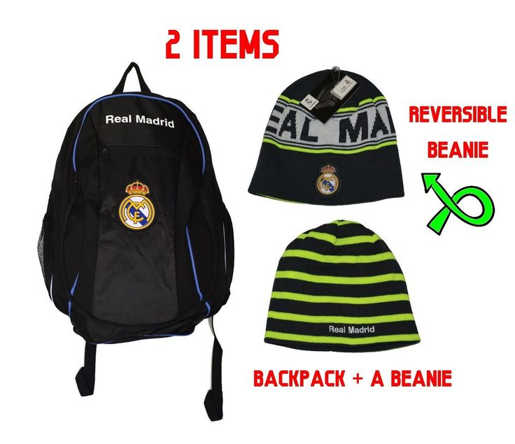 Real Madrid  backpack school  mochila bookbag official +  Beanie Reversible Grey #Isport #RealMadrid