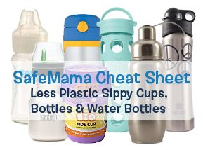 a list of sippy cups, bottles, and water bottles that aren't made out of plastic.