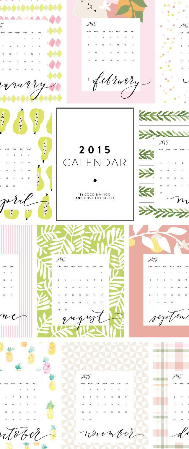 Printable calendar, 2015 printable calendar, freebie, free download, calligraphy, hand lettering, watercolor