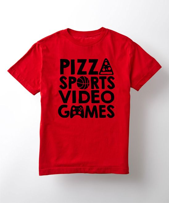 Red 'Pizza Sports Video Games' Tee - Kids