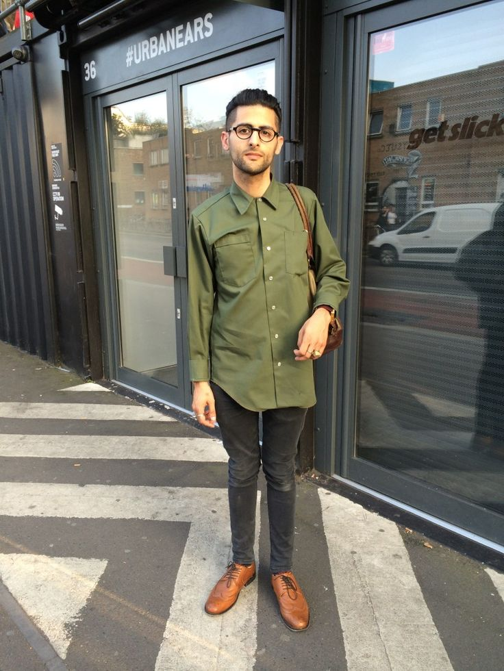 Mens fashion on Bethnal Green Road, London E1. Military Shirt (New Zealand), Clic glasses (Australia), Bespoke Anas Jewellery, Asos Shoes, Asos Jeans | Watches & Fashion | WTCH