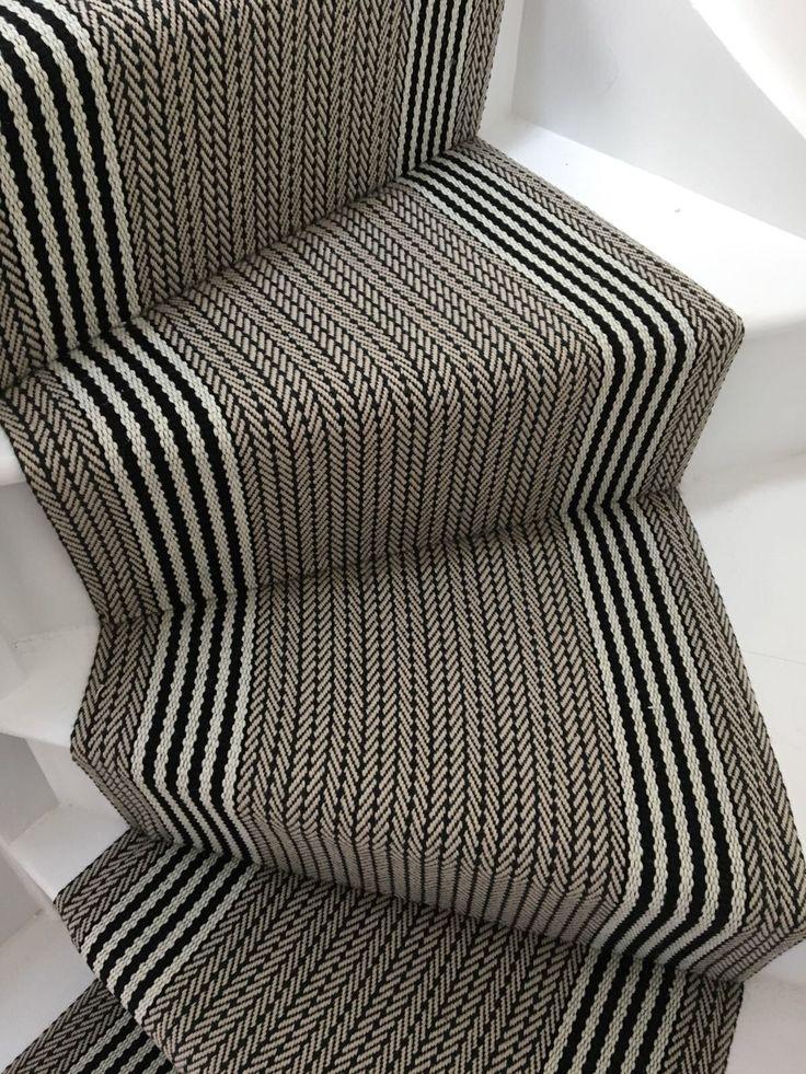 Roger Oates Flaxman Stone stair runner carpet fitted on