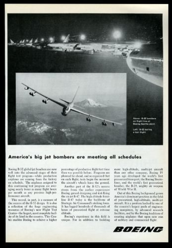 1955-USAF-B-52-bomber-plane-and-Seattle-plant-photo-Boeing-vintage-print-ad