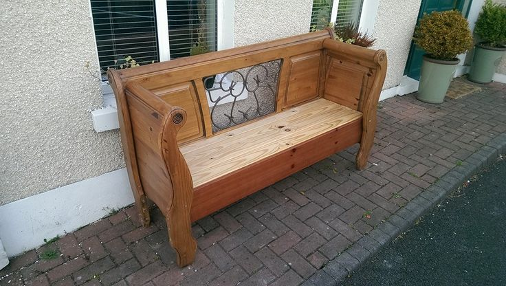 I took a Double Sleigh Bed Frame and repurposed into this Unique Hall or Garden Bench