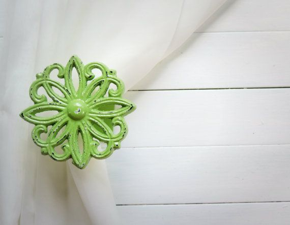 Two Metal Curtain Tie Backs / Curtain Tiebacks / by WillowsGrace #etsy