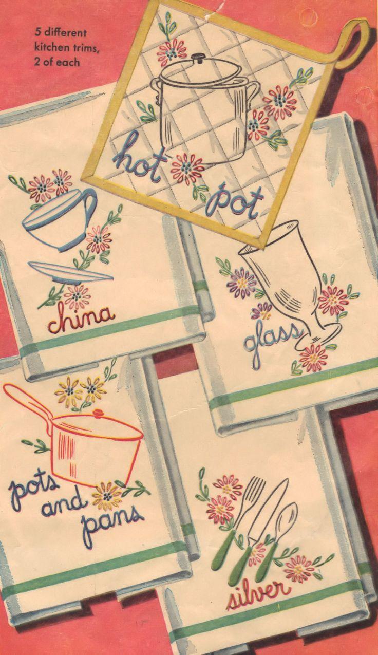 Pattern For Vintage Retro Kitchen Embroidery Set