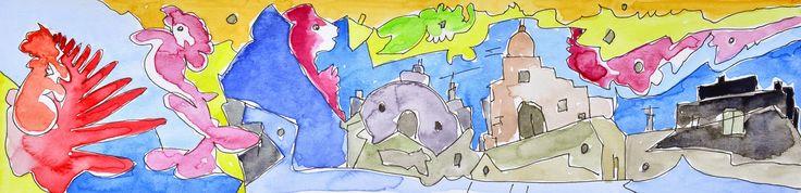 L'arte di Vittorio Amadio: Once Upon A Time. C'era una volta Le case erano colorate e le strade ben curate e anche gli alberi e le siepi sembravano venissero potati a ogni ora del giorno e della notte, all'alba e al tramonto, con il sole e con la pioggia, con il caldo e con il freddo...