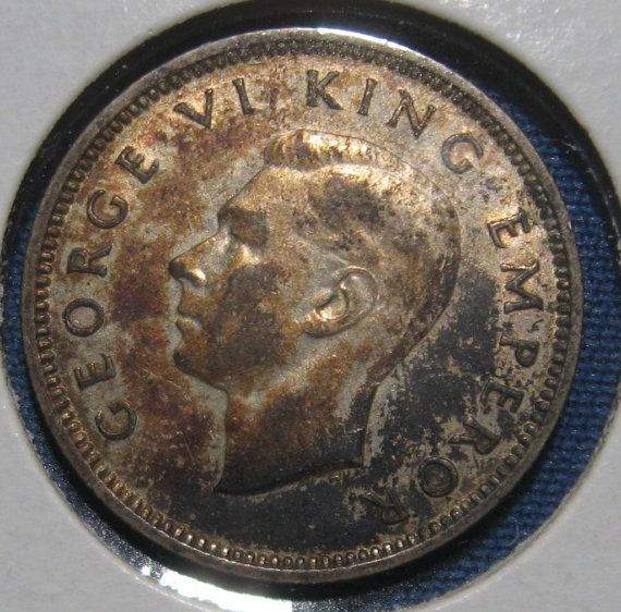 1939 New Zealand Six Pence WW II Era Silver Coin by RogerVarouj