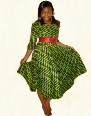 Green and Black - Ankara Design Check Out Simple Gown Style