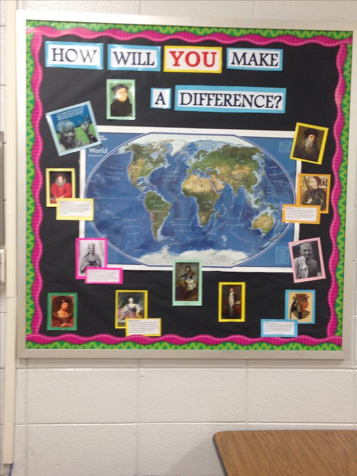 Bulletin board I put up in my classroom this year for my high school world history class. It includes a map of the world and people who have made a difference in world history.