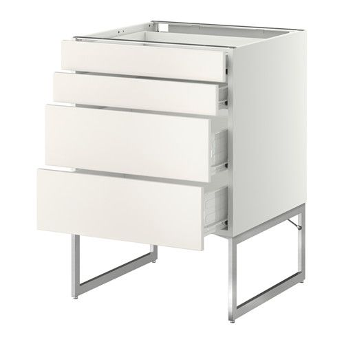 METOD/FÖRVARA Base cab 4 fronts/2 low/2 md drwrs - white, Häggeby white, 80x37x60 cm - IKEA