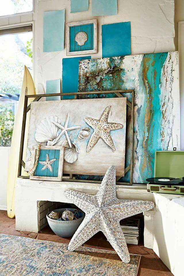 Starfish love -- sooo love all the teal/ turquoise colors here.  #BarbsBeachHouseDecor