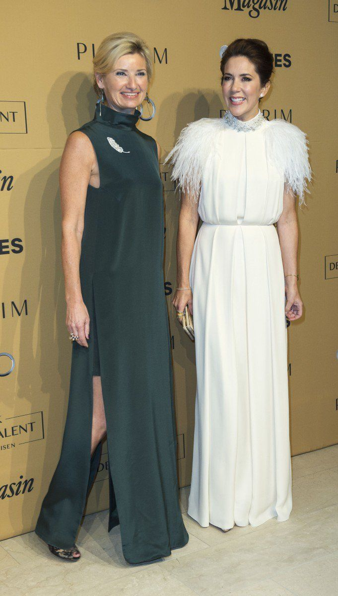 Crown Princess Mary glammed it up with feathers on her shoulders for the design competition Danish Design Talent - Magasin Award on Thursday.