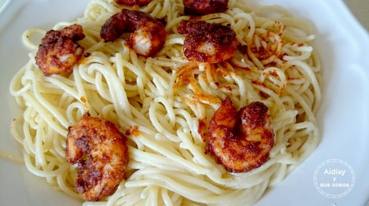 Pasta con langostinos picantes. #recetas #cocina #gastronomía #ñamñam #recipes
