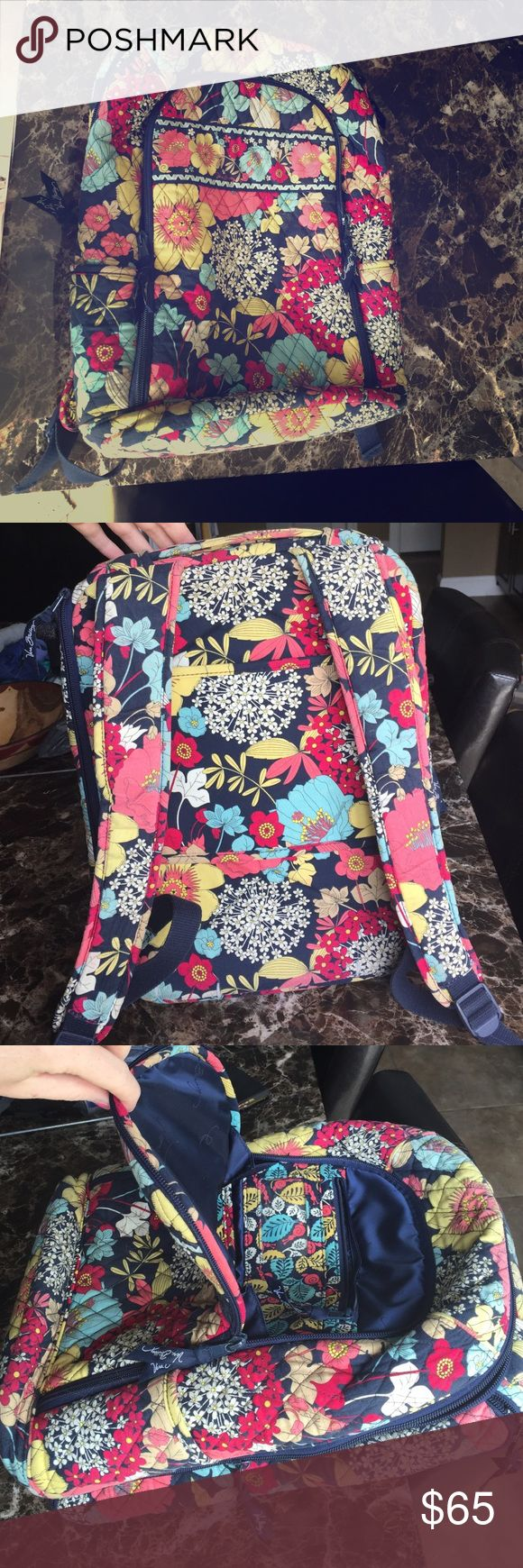 Vera Bradley Backpack! Like new Vera Bradley backpack! Barely used! It has a laptop compartment, ID department and side pouches! Great backpack for all ages!! Vera Bradley Bags Backpacks